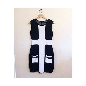 Aryeh color blocking dress with front pockets